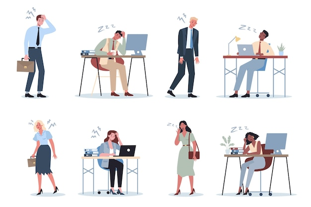 オフィスセットで疲れ果てたビジネスの男性と女性。