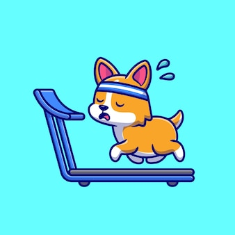 Exhausted corgi running on the treadmill cartoon vector icon illustration.