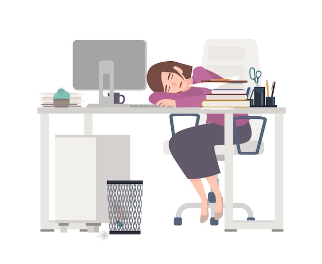 Exhausted female office worker, manager or clerk sitting at desk covered with documents and sleeping.