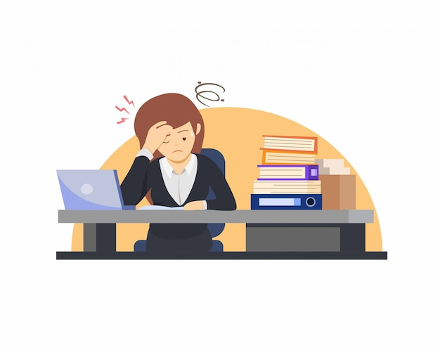 Exhausted female office worker, manager or clerk sitting at desk with full of documents, corporate woman stressed working overtime in cartoon illustration