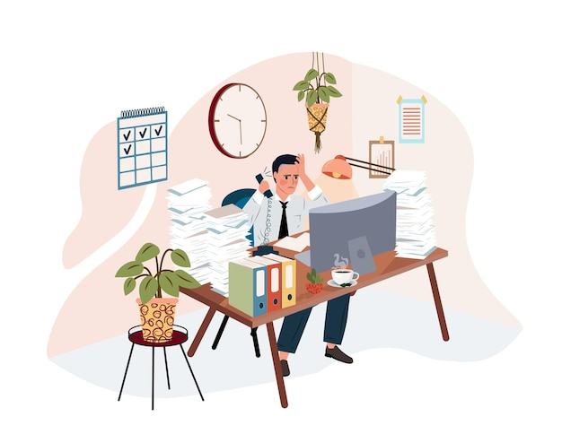 Exhausted frustrated worker burnout boss shout at employee from phone deadline how to relieve stress acute stress disorder work related stress concept flat vector vector isolated illustration