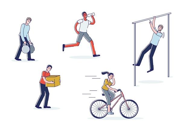 지친 땀을 흘리는 만화 캐릭터 훈련 승마 자전거, 조깅, 당기기