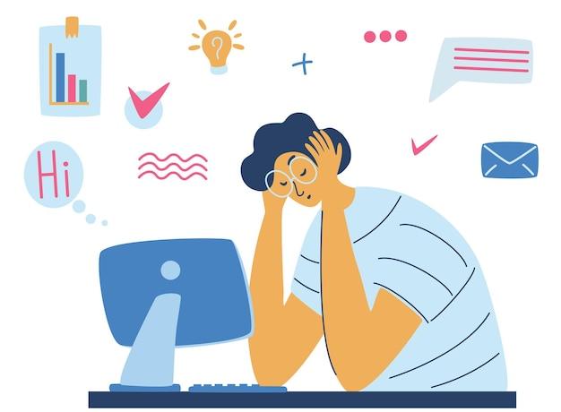 사무실에서 지친 피곤한 남성 매니저는 머리를 숙이고 앉아 있습니다. 지친 남자 회사원이 테이블에 앉아 있는 번아웃 개념 삽화. 스트레스가 많은 일, 직장에서의 스트레스. 벡터