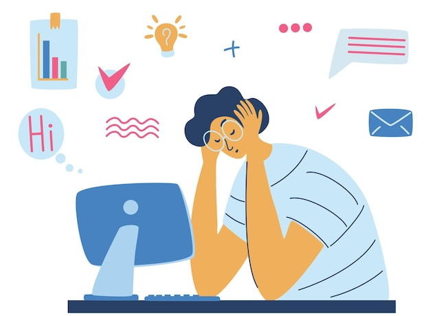 Exhausted tired male manager in office sad sitting with head down. burnout concept illustration with exhausted man office worker sitting at the table. stressful work, stress at workplace. vector