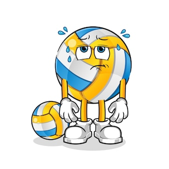 Exhausted volleyball cartoon character