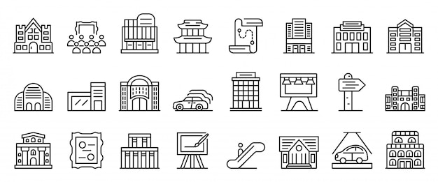 Exhibition center icons set, outline style