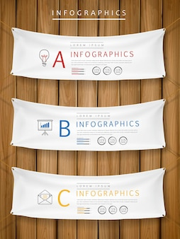 매달려 배너 요소와 전시 개념 infographic 템플릿 디자인