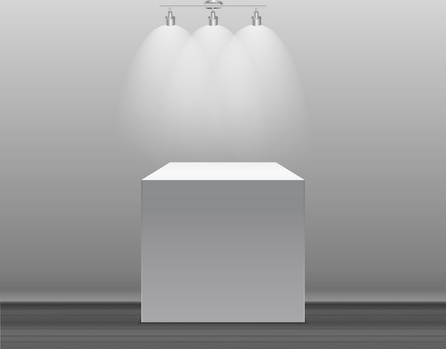 Exhibition concept white empty box stand with illumination on gray background