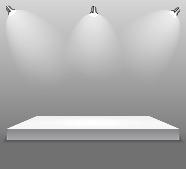 Exhibition concept, white empty shelf  stand with illumination on gray background.