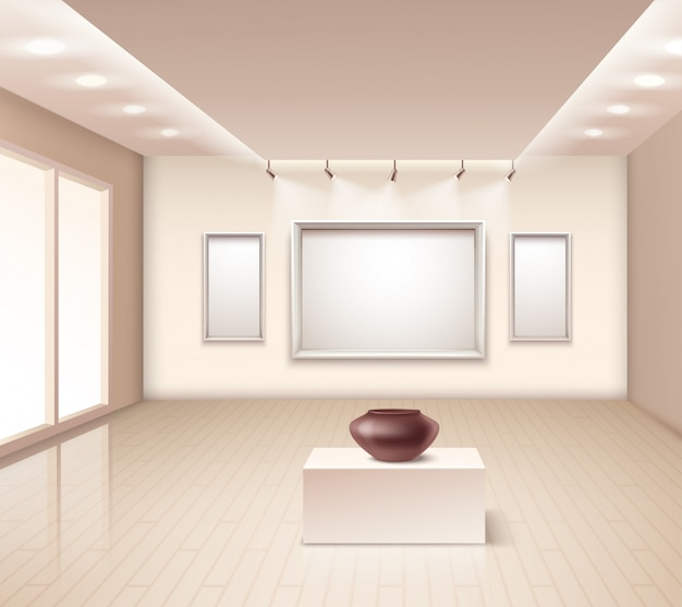 Exhibition gallery interior with brown vase