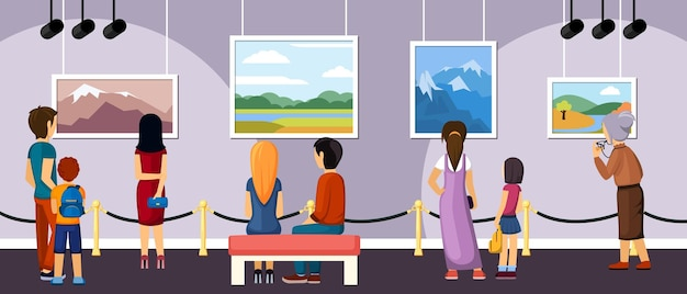 Exhibition of modern and retro art illustration. during excursion visitors see works of famous authors outstanding masterpieces present and past in landscape and surrealist style. vector lifestyle.
