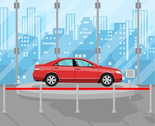 展示パビリオン、赤い車のディーラー