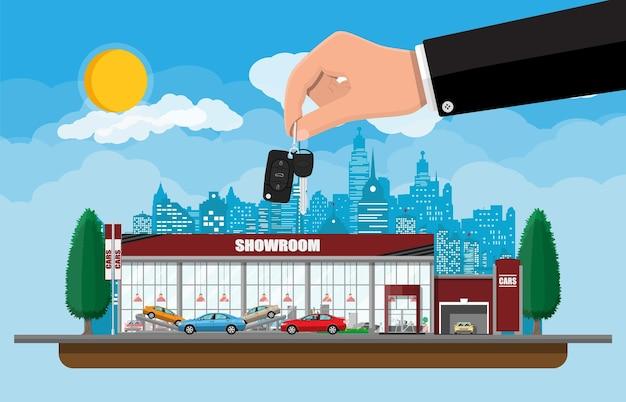 전시 파빌리온, 쇼룸 또는 대리점. 자동차 쇼룸 건물. 자동차 센터 또는 상점. 자동 서비스 및 상점. 도시 풍경, 도로, 집, 나무, 하늘, 구름과 하늘.