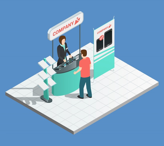 Exhibition promotion composition with isometric stand and female promoter
