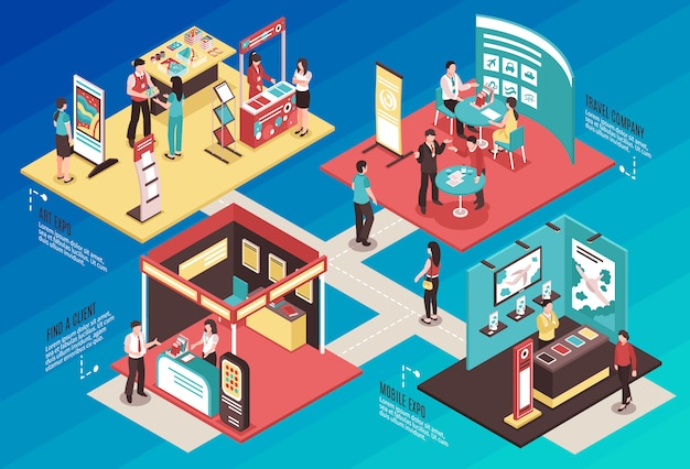 Exhibition showcase isometric concept