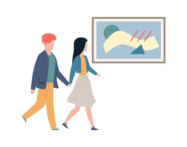 Exhibition visitors looking art. couple man and woman walk hold hands and look artworks and pictures in frame, date at modern museum or gallery flat cartoon vector isolated illustration