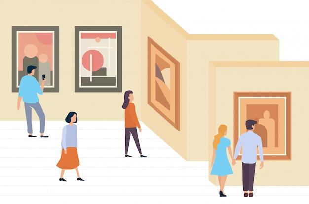 Посетители выставки люди гуляют и смотрят современные абстрактные картины в галерее современного искусства, музей минималистичной иллюстрации
