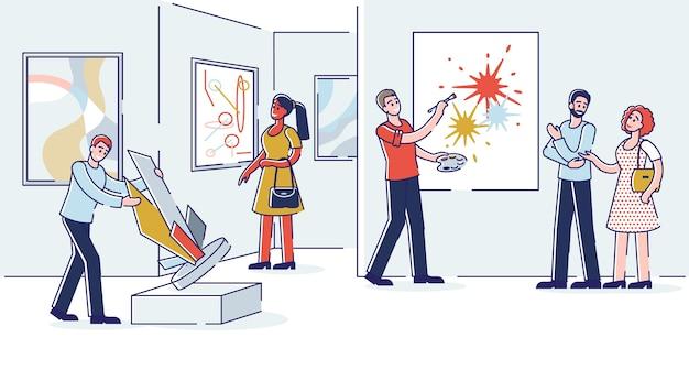 현대 미술 갤러리에서 현대 추상 회화와 트렌디 한 조각을 보는 전시 방문자