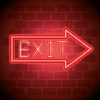 Exit arrow neon label icon