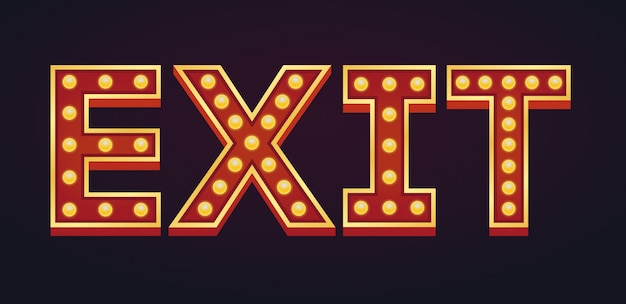Exit banner alphabet sign marquee light bulb