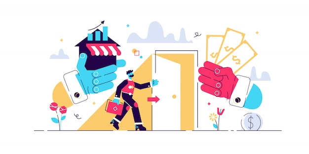 Exit business illustration. flat tiny company sale persons concept. successful sell decision process to trade ownership to entrepreneur. buyout management and concern sell contract and deal.