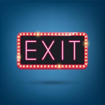 Exit, neon bulb, retro light frame illustration