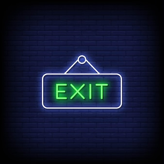Exit neon signs style text