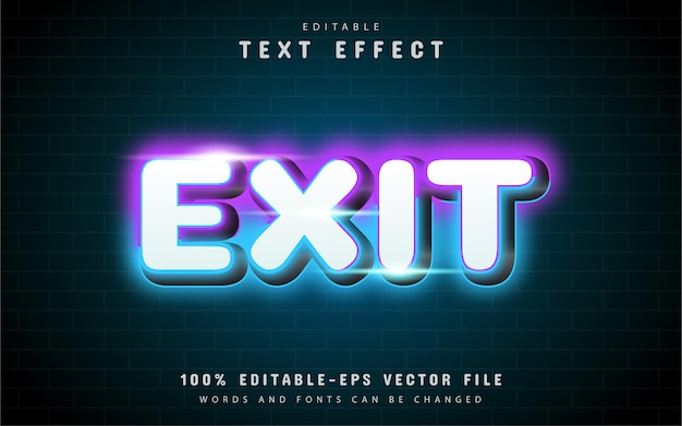 Exit neon text effect with purple gradient