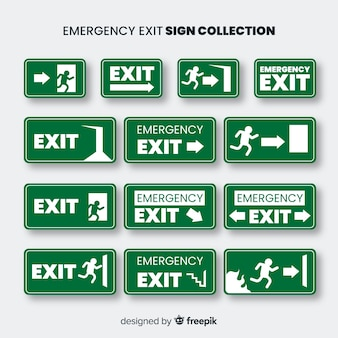 Exit sign collection in flat design
