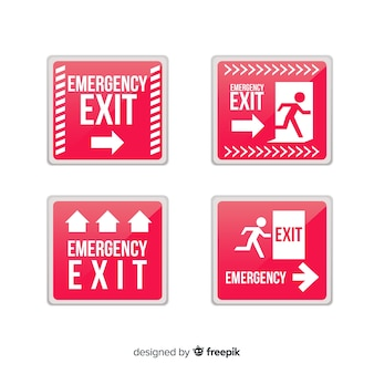 Exit sign collection in flat style