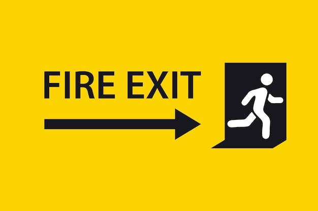 Знак выхода. знак аварийного пожарного выхода. фигура человека, бегущая к дверному проему. бегущий значок человека к двери. знак пожарного выхода