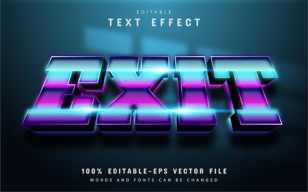 Exit text, 3d neon style text effect