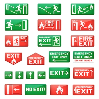 안전 대피를위한 녹색 화살표가있는 벡터 비상구 기호 및 화재 탈출구를 종료하고 흰색 공간에 고립 된 비듬 그림 세트에서 종료