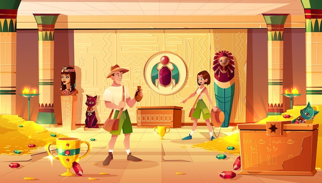 Exited man and woman archeologists or treasure hunters discovering and exploring egypt pharaoh lost tomb or treasury full of gold coins, precious gems and ancient artifacts cartoon vector illustration