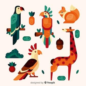 Коллекция экзотических животных плоский стиль