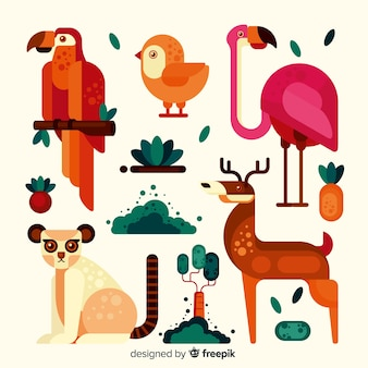 Exotic animal collection flat style