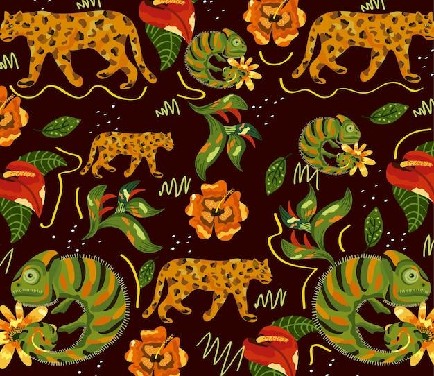 エキゾチックな動物と花のパターンイラストデザイン