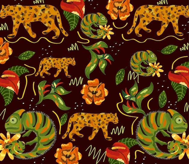 Exotic animals and flowers pattern  illustration design