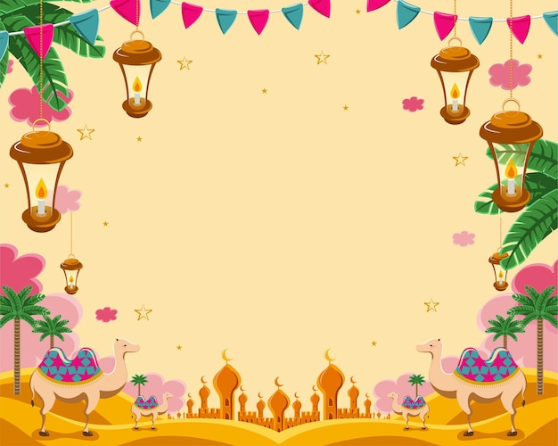 Exotic arabic desert scenery with camel and palm tree in flat style