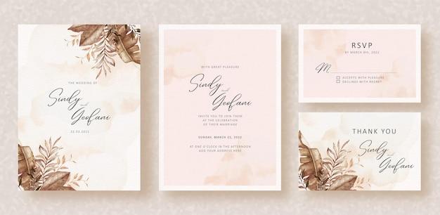 Exotic autumn florals corner frames watercolor on wedding invitation background
