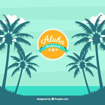 Exotic beach background with palm trees