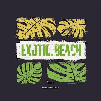 Exotic beach graphic tshirt design vector illustration