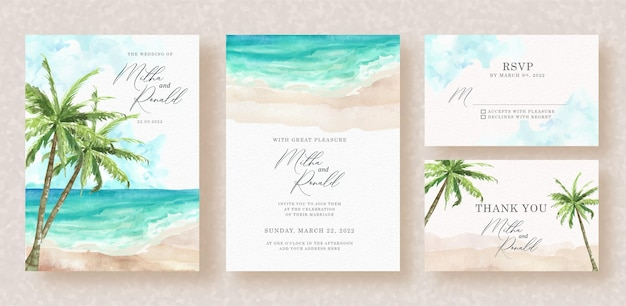 Exotic beach and palm trees views watercolor on wedding invitation background