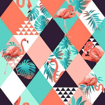 Exotic beach trendy seamless pattern, patchwork illustrated floral