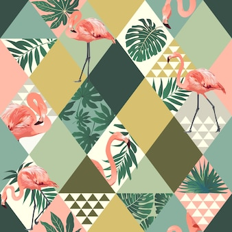 Exotic beach trendy seamless pattern tropical leaves flamingos background.
