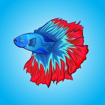 エキゾチックなベタ魚ハーフムーン美しい色のアートワークイラスト水背景に分離