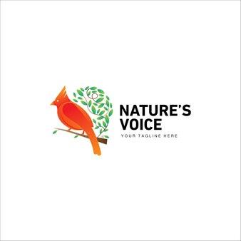 葉の枝とエキゾチックな鳥の抽象的なロゴ