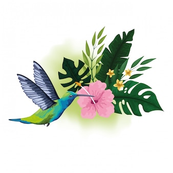 Exotic bird and tropical flowers drawing
