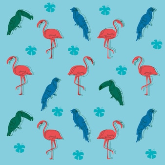 Exotic birds pattern background