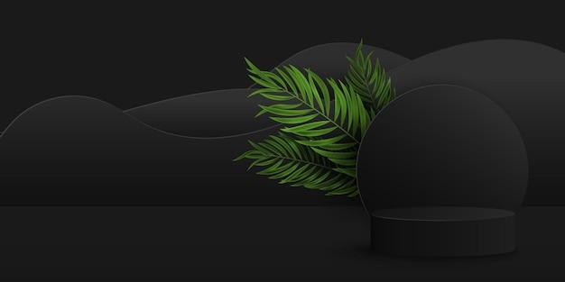 ヤシの葉が付いているエキゾチックな黒い台座。